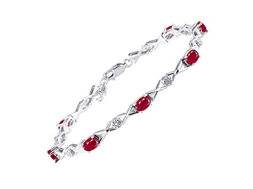Stunning Ruby & Diamond XOXO Hugs & Kisses Tennis Bracelet Set in Sterling Silver - Adjustable to fit 7