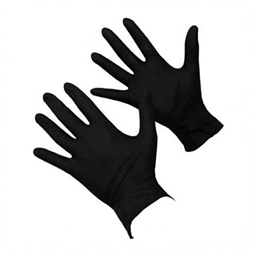 Medium 100 Black Nitrile Powder Free Medical Tattoo Mechanic Rubber Gloves