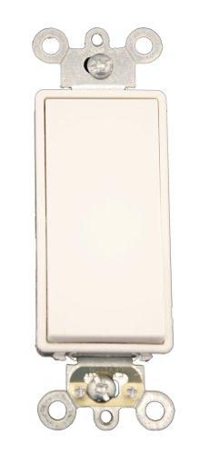 Leviton 5691-2W 15 Amp, 120/277 Volt, Decora Plus Rocker Single-Pole AC Quiet Switch, Commercial Grade, White (Switch Decora Plus Rocker)