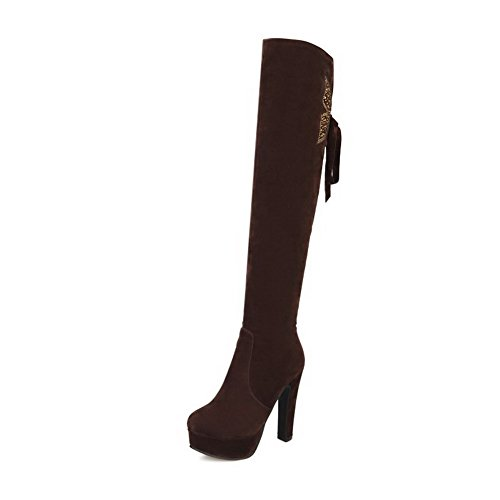 Allhqfashion Women's Solid High-Heels Pull On Round Closed Toe Boots Brown