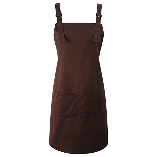 BFY Women Men's Apron Shoulder Straps Waist Tie With 2 Front Pockets for Artist Kitchen Cooking Home Garden (Coffee) from BFY
