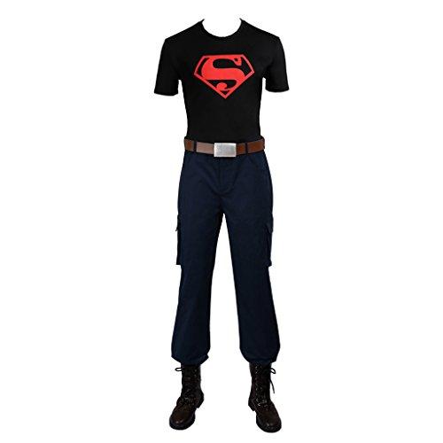 [CosplayDiy Men's Halloween Suit for Youth Justice Superboy Cosplay XS] (Superboy Costume Cosplay)