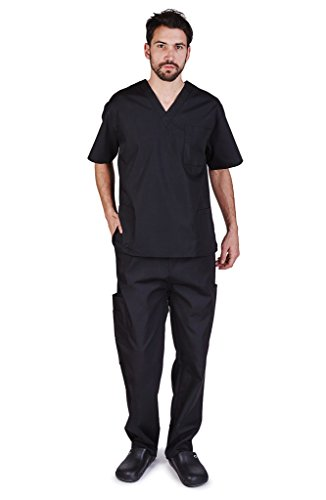 NATURAL UNIFORMS Men's Scrub Set Medical Scrub Top and Pants XL Black by NATURAL UNIFORMS