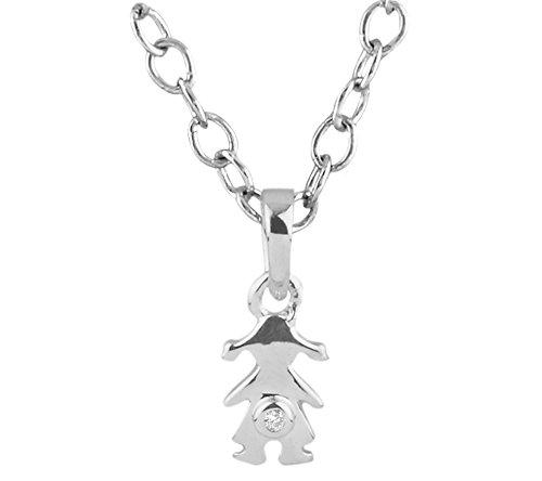 Argent Blanc 92 ct Pendentifs Diamant en forme de poupée, 0.02 Ct Diamant, GH-SI, 0.7 grammes.