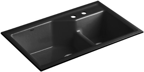 Kohler K-6411-2-7 Indio Undercounter Double Offset Basin Kitchen Sink with Two-Hole Faucet Drilling, Black Black