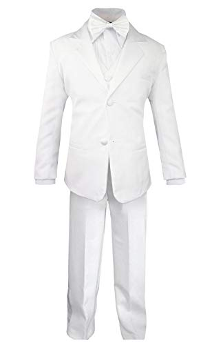 (Luca Gabriel Toddler Boys' 5 Piece Classic Fit Formal White Suit Bowtie Set - Size 10)