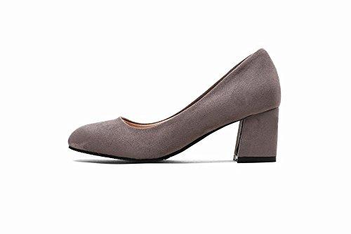 Charm Foot Donna Grosso Tacco Medio Business Pompe Moda Scarpe Grigie