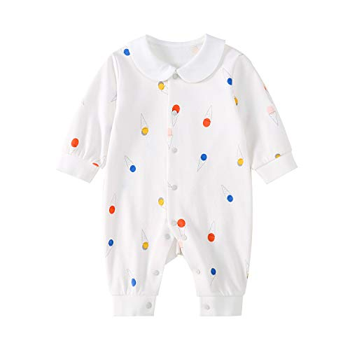 pureborn Baby Boy Girl Jumpsuit Sleep and Play Cotton Long Sleeve Footless Coverall White Ice-Cream 9-12 Months