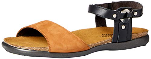 NAOT Footwear Women's Sabrina Sandal Jet Black Lthr/Hawaiian Brown Nubuck 8 M US