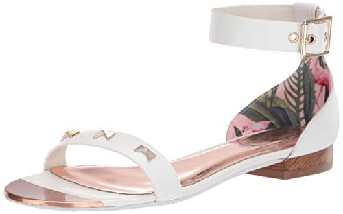 Ted Baker Women's OVEY Flat Sandal, White Leather, 9 M US