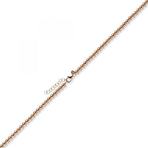 Boule 4mm Chaîne de bracelet Bracelet avec rallonge, en or 585or rouge, 21cm