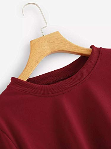 Couleur manches à T taille pour rond et à simple blanc longues femmes à femme Rouge Zhrui grande shirt capuche col fn4xSAxZ