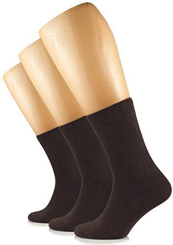 HUGH UGOLI Women's Dress Crew Socks Cotton 3 Pairs. (US: 5-8, Dark Brown)