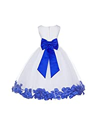 Wedding Party Pageant Elegant Rose Petals White Tulle Flower Girl Dress 302T