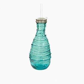 Eurowebb Botella de Cristal Reciclado Hecho a Mano – una Botella con Pajita