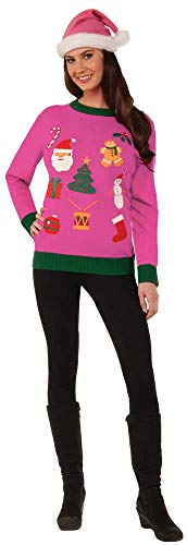 Forum Women's Everything Christmas Ugly Christmas Sweater, Pink, Medium