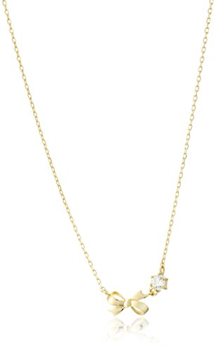 10k Gold Swarovski Zirconia Dainty Bow Pendant Necklace - Bow Pendant Necklace