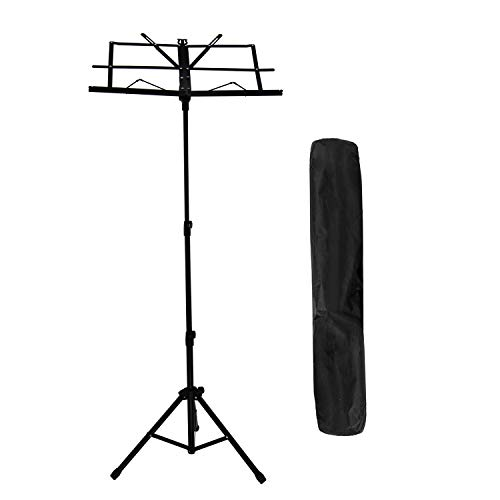 Sheet Music Stand, MIMIDI Portable Folding Durable Metal Music Holder for Kids, Adult Instrument Performance with Carrying Bag, Black