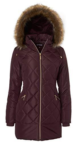 Women's Long Down Alternative Puffer Coat Zip-Off Plush Lined Fur Trim Hood - Merlot - Fur Juniors For Faux Coats Hood