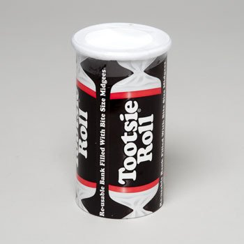 Tootsie Roll Bank, 4oz Re-usable Bank Filled with -