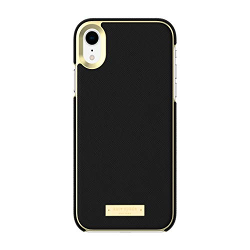 Kate Spade New York Phone Case | For Apple iPhone XR | Protective Phone Cases with Wrap Design and Drop Protection - Saffiano Black / Gold Logo Plate