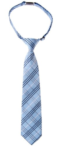 Retreez Tartan Plaid Styles Woven Microfiber Pre-tied Boy's Tie - Blue - 4-7 years
