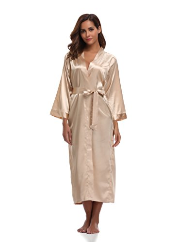 Sunnyhu Women's Pure Color Kimono Robe, Long (L, Gold)