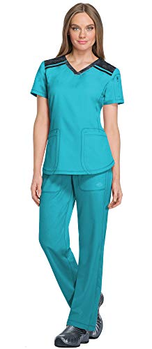 (Dickies Dynamix Women's V-Neck Knit Panel Top DK740 & Women's Elastic Waist Pull-On Pant DK120 Scrub Set (Teal Blue - Medium/Medium Petite))