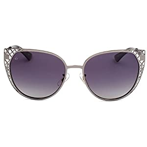 """PRIVÉ REVAUX ICON Collection """"The Monarch"""" Handcrafted Designer Polarized Cat-Eye Sunglasses (Gun Metal)"""