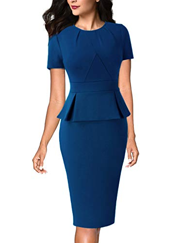 VFSHOW Womens Peacock Blue Pleated Crew Neck Peplum Work Business Office Church Bodycon Pencil Sheath Dress 3222 BLU M (Peacock Blue)