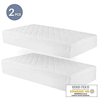 Leeden Waterproof Crib Mattress Protector (Set of 2) 52x28 in Toddler Mattress Cover Soft Fitted Bamboo Mattress Pad with 9 in Pocket Breathable