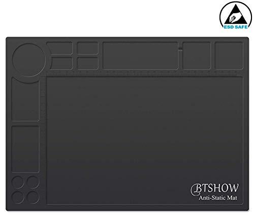 - BTSHOW Anti-Static Mat ESD Soldering Mat Heat Resistant 932°F Desktop Static Dissipative Silicone Mat Dustproof for Electronics Repair,13.8