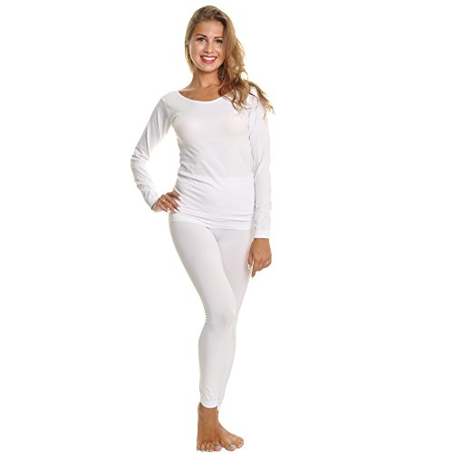 Angelina 2-Piece-Set Seamless Top and Bottom Layering Basics, #825_White-Winter by Angelina