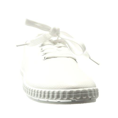 Angkorly - Chaussure Mode Baskets basse femme Talon plat 0 CM - Blanc