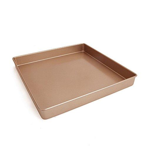 11 x 11 Inch Carbon Steel Baking Pan, Momugs Nonstick Square Bakeware Roasting Tray, Gold