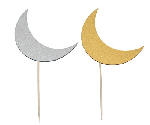 Zaffron Silver and Gold Mix Crescent Moon Eid Cupcake Toppers and Party Picks (12 pack)