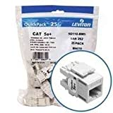 Leviton 5G110-BW5 Ethernet Connection, GigaMax 5e+ QuickPort Connector Quickpack - White (25 Pack)