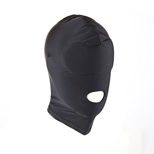 Oulii Elastic Black Open Mouth Face Cover Role Play Mask Hood Bondage Cosplay Costume Size M
