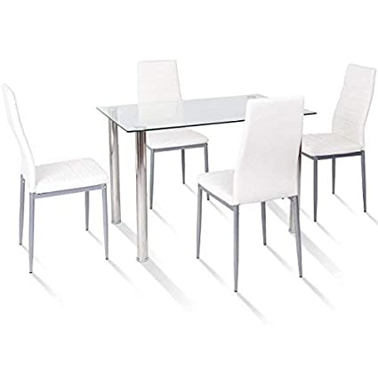 TANGKULA 5 PCS Dining Table Set Modern Tempered Glass Top And PVC Leather  Chair W/