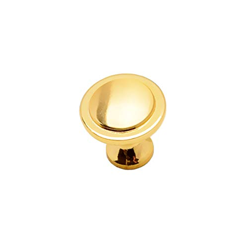Gold Cabinet Round Knobs, 5 Pack Traditional Cabinet & Furniture Knobs Hardware Round Knob Pull - 1