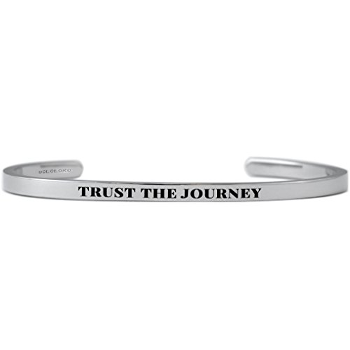 Dolceoro Trust The Journey   Inspirational Mantra Bracelet Jewelry  3Mm Wide 316L Surgical Stainless Steel