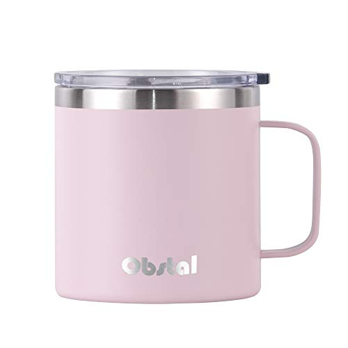 - Obstal Insulated Coffee Travel Mug with Lid and Handle, 14 oz Stainless Steel Metal Coffee Cup, Double Wall Vacuum Insulated Tumbler, Perfect for Gift, Pink