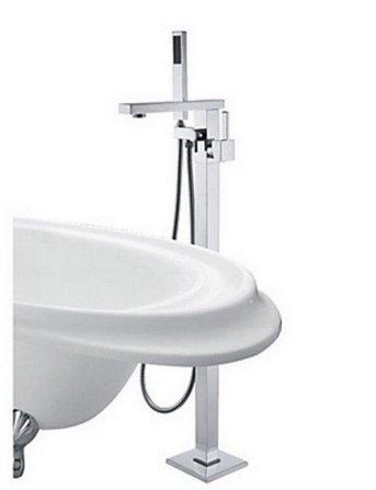 GOWE Floor Mounted Free Standing Bathtub Faucet Shower Set Tub Filler Mixer Tap 2