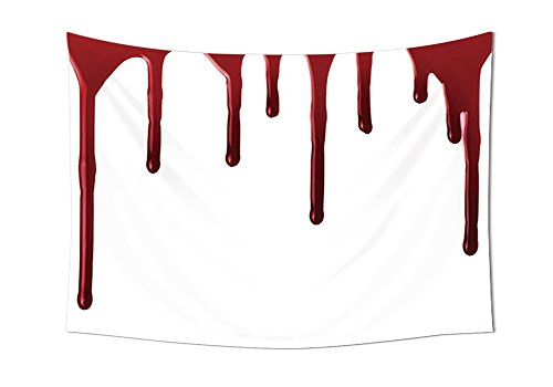 Bloody Wall Tapestries Flowing Blood Horror Spooky Halloween Zombie Crime Scary Help me Themed Illustration Bedroom Living Room Dorm Decor Red (Bloody Mary Halloween Mirror)
