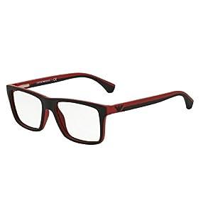 Emporio Armani EA 3034 Men's Eyeglasses Black / Red Rubber 55