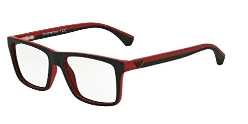 Emporio Armani EA 3034 Men's Eyeglasses Black / Red Rubber - Armani Glasses Emporio