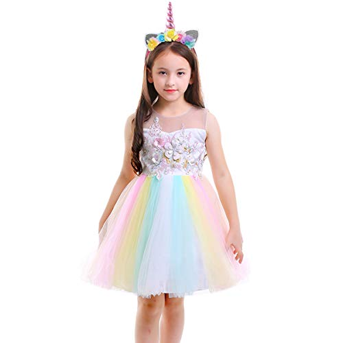Unicorn Costume Flower Girl Rainbow Tutu Dress Embroidered Floral Princess Pageant Party Birthday Wedding Short Gown ()
