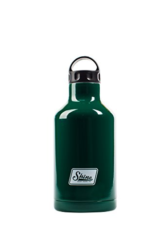 Water Bottle Stainless Steel Vacuum Insulated Wide Mouth by Shine Craft Vessels | Thermos Flask Keeps Water Stay Cold for 24 hours, Hot for 10 hours BPA Free ( Deep Forest Green ) - Squealer 32 oz by Shine Craft Vessels