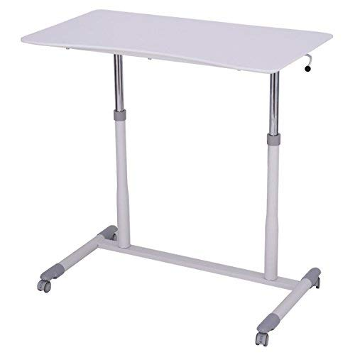 Desk Height Computer Table - TANGKULA Computer Desk Home Office Dorm Rolling Wooden Top Height Adjustable Sit-to-Stand Desk Portable Writing Study Table Notebook Laptop Desk (White 001)
