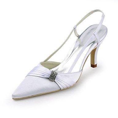 Mujer De Tacones Pulg Toe 3 Vestido 4 Noche Boda 3 De De Blanco amp;Amp; La Por Zapatos Seda Fiesta 3A Talón Señalar Heels White Blanco Stiletto xXS5wEqwF